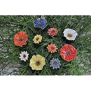 10 Keramikblumen: Mohnblumen und Kornblumen, 3 und 4-4,5 cm von SylBer-Ceramics aus Markkleeberg