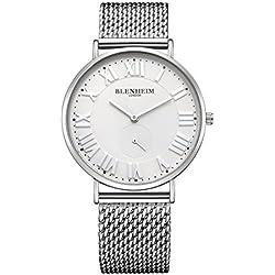 Blenheim London® Kensington Silver Case White Dial Watch with Silver Bracelet