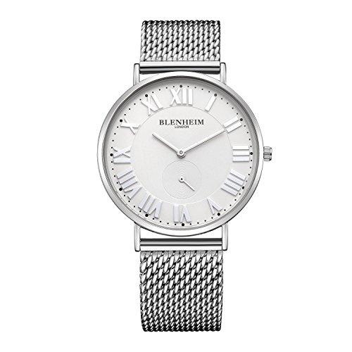 Blenheim London® Herren-Armbanduhr Sales mit Weiß Zifferblatt blau Hand silber Fall und Edelstahl Gurt