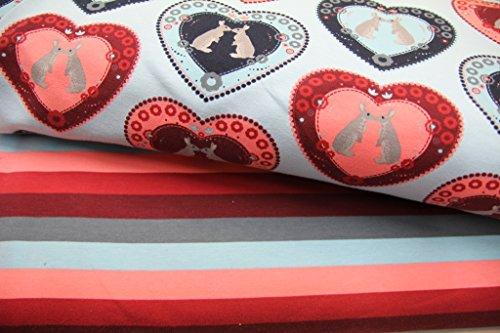 Stoff / Kinder/ Meterware / ab 25cm / beste Jersey-Qualität / Jersey / Sommer-Sweat Hasen im Herz türkis, rosa auf hblau - 4