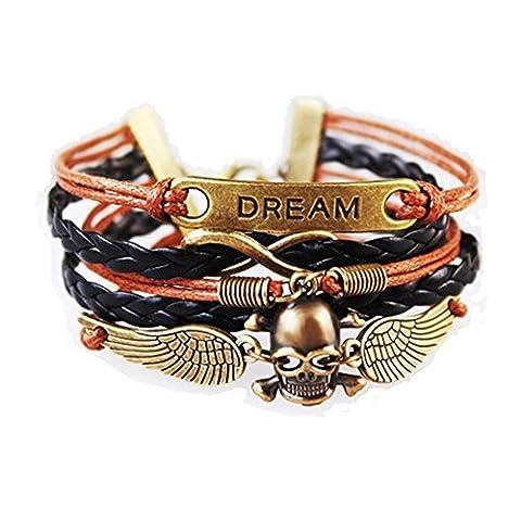 anges et Démons Tête de mort avec ailes d'ange Dream Cuir Vintage Bohême Bracelet