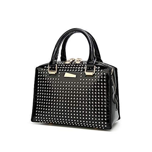 Keepop Damen Top Griff Tasche Tote, Lackleder Rivet Handtasche Designer Mode Handtasche Schulter Crossbody Tasche, Schwarz -