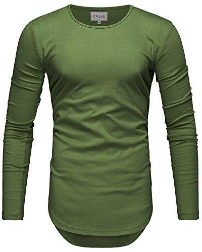 Crone Herren Langarm Shirt Longsleeve Slim Fit T-Shirt Leicht Oversize Basic Sweatshirt in vielen Farben (XL, Mint) (Erste Premium-rundhals-sweatshirt)