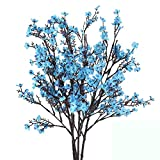 Nahuaa Künstliche Blumen Blau 4 Stücke Gypsophila Seidenblumen Brautstrauß Kunstpflanze Deko Herbst für Brautjungfer Hochzeit Blumenarrangement Garten Balkonpflanzen