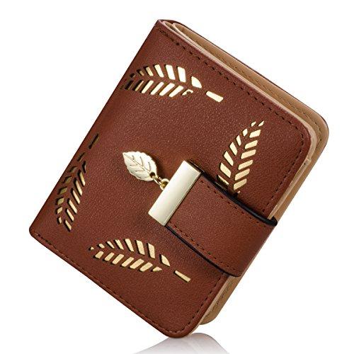 Damen kurzer Punkt Art und Weise weibliche Portemonnaie Hohle Goldblatt Kleine Geldbeutel Große Kapazität Wallet (Kaffee)