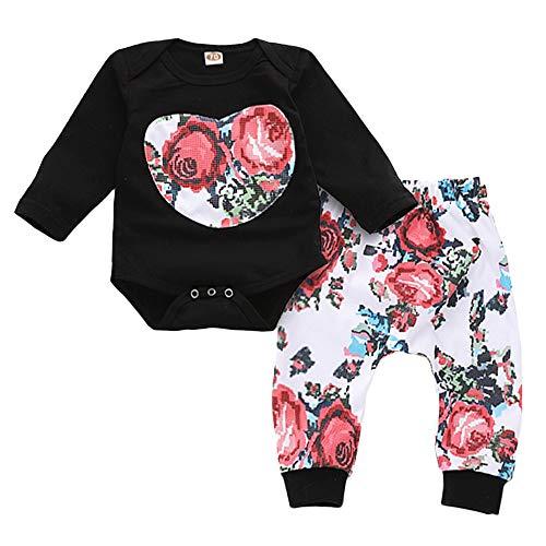 Anywow 2 stücke Säugling Mädchen Onesies Hosen Kleidung Set Kleinkind Blume Herzform Patch Strampler Passende Hosen Outfits