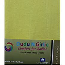 Dudu N Girlie Cotton Jersey Cot Bed Fitted Sheets, 2-Piece, Yellow