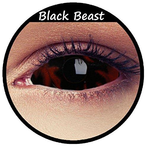 Schwarze feurige Sclera Kontaktlinsen 22mm Linsen Halloween Kostüm Cosplay Larp