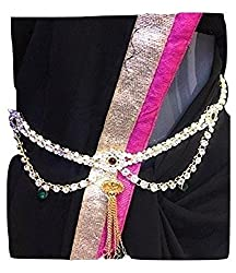 Beautiful Designer Single Piece American Diamond waist chain,kamarband, belly chain for women for festival/wedding/parties with pair of Multi Colour Jumkas worth 150rs free