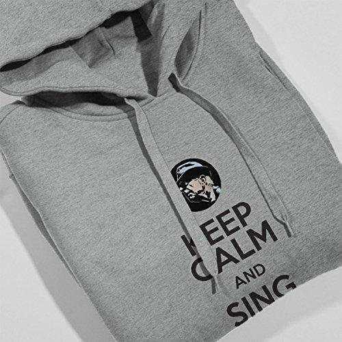 Leonard Cohen Keep Calm And Sing Hallelujah Men's Hooded Sweatshirt Heather Grey