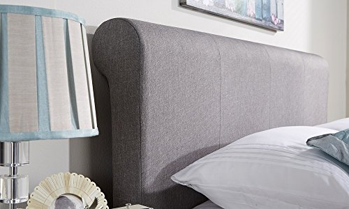 Side Lift Ottoman Sleigh Bed | Hopsack Fabric | Bronze Silver | Double Kingsize (Silver Grey, 5ft King Size)