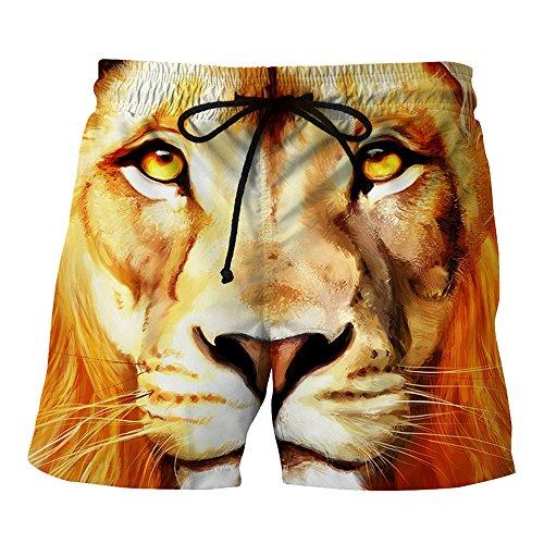 Naturazy BañAdores De NatacióN Pantalones Cortos Pantalones Cortos 3D LeóN Printed Trajes De BañO Seco RáPido Playa Surf Correr NatacióN Corta Agua