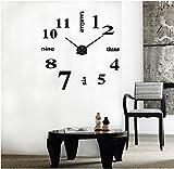 DIY Wanduhr Moderne Clock 3D Acryl Spiegel Metall Rahmenlose Wandaufkleber groß Uhren Style Raum Home Dekorationen Tolles Geschenk (Schwarz)