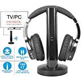 Wireless TV Headphone 2.4G Digital RF Transmitter Charging Dock, Hi-Fi Over-Ear Cordless Headset