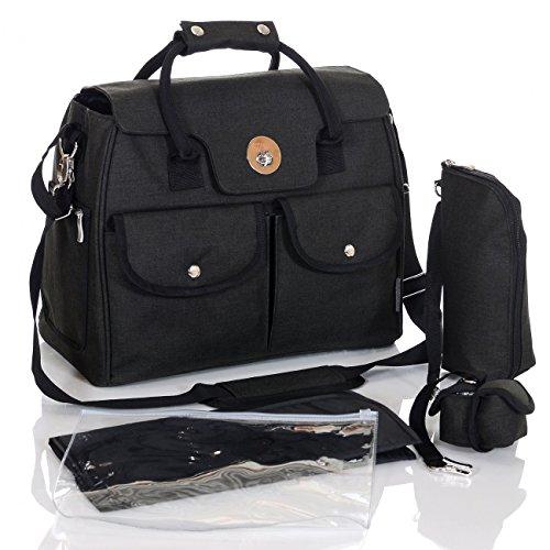 Preisvergleich Produktbild LCP Kids Baby Wickeltasche Rio 5 teilig, Farbe:schwarz