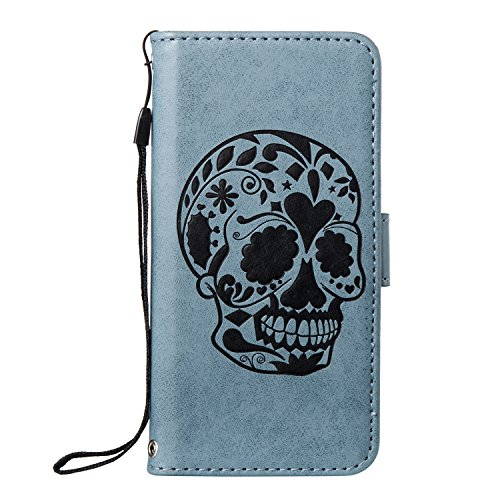 Custodia iPhone 6, Custodia iPhone 6S, Cover iPhone 6/iPhone 6S, ikasus® iPhone 6/iPhone 6S Custodia Cover [PU Leather] [Shock-Absorption] Goffratura Testa del cranio Modello Embossing Protettiva Port Blu