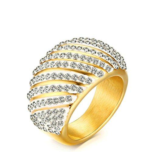 Onefeart Damen Edelstahl Ring für Mädchen,14.5MM Glänzend Rhinestones Vergoldet Größe 57 (18.1)