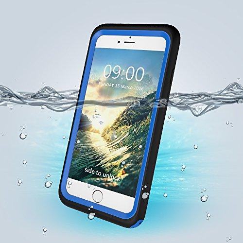 Wasserdichte Handy Hülle Case für iPhone 6 Plus / 6S Plus 5.5 Zoll, Skitic Ultradünn Gehäuse Unterwasserhülle Ganzkörper Outdoor Schwimmen Handyhülle Waterproof Staubdicht Stoßfest Hülle Tasche Bumper Blau