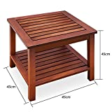 forestfox™ Fixed Coffee Table Acacia Wood Under Storage Weather Resistant Garden Furniture