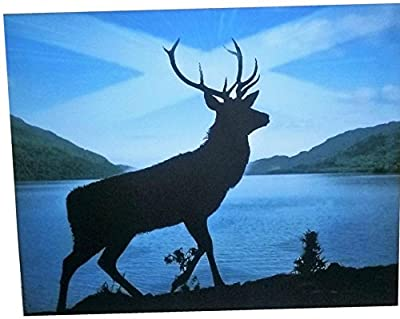 Deer Stag Canvas Wall Art Animal Picture Framed Print, Saltire Scottish Flag