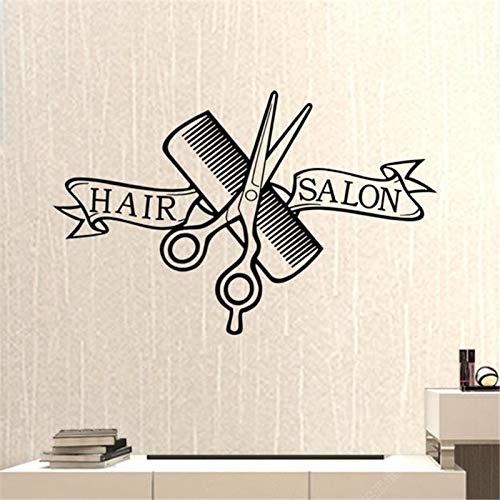 Qsdfcc Friseursalon Friseur Aufkleber Schere Clipper Friseursalon Aufkleber Neutral Haarschnitt Poster Vinyl Wall Decor Windows Dekoration 43x67c (Windows Halloween Display)