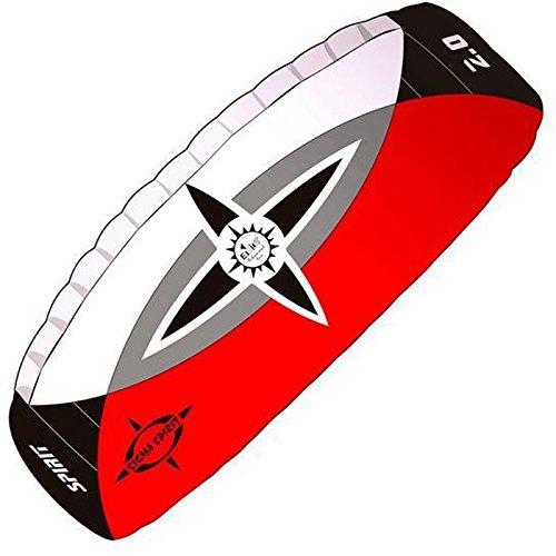 elliot 1011649 Elliot Sigma Spirit 2.0 Zweileiner-Lenkdrachen (Lenkmatte), rtf, 190 x 68 cm, Bft. 2-7, schwarz/weiß/rot