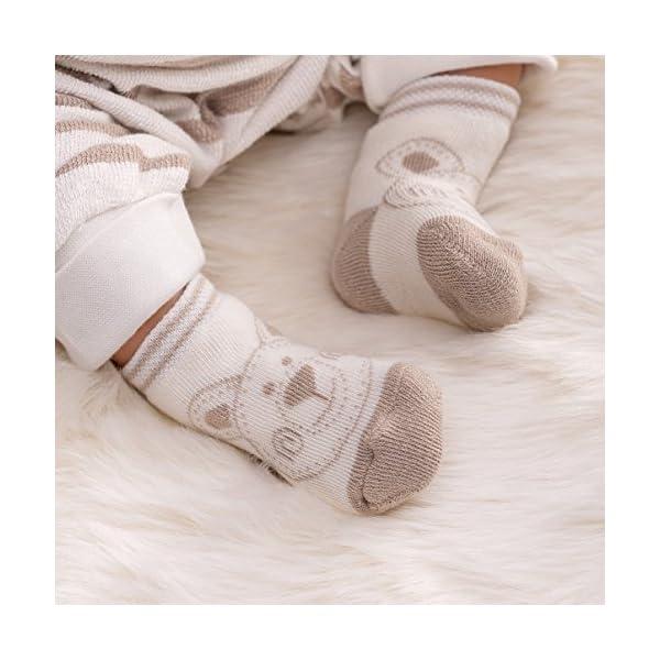 Jacobs Calcetines de recién nacido / Patucos bebé de algodón rizado con motivos ositos - Lote 6 pares (0-3 meses… 3
