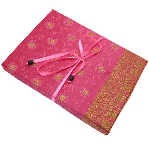 Fair Trade Briefpapier-Set Sari 170 x 230 mm - rosa
