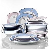 VEWEET 'Debbie' vajilla de Porcelana Juegos de vajilla 36 Piezas | vajilla Completa para 12 Personas | Cada uno con 12 Platos de Postre, 12 Platos de Sopa y 12 Platos Plano