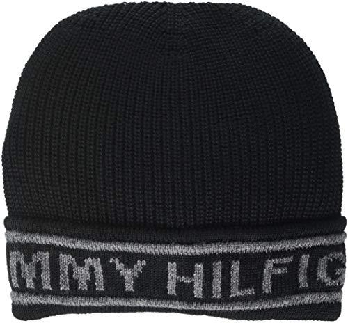 Tommy Hilfiger Herren Selvedge Knit Beanie Strickmütze, Schwarz (Black 002), One Size (Herstellergröße: OS)