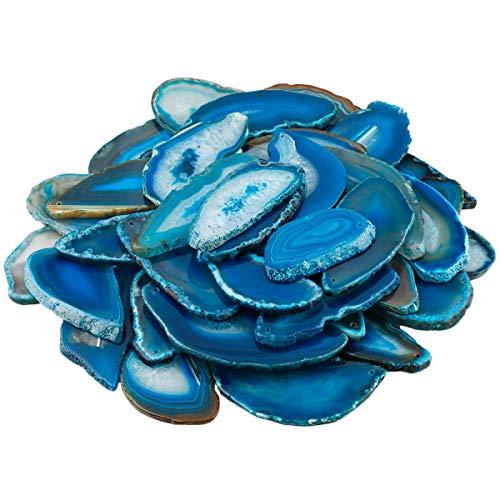 KYEYGWO 10 Stück Natürliche Achat Scheiben Anhänger für Schmuckherstellung, Top Gebohrte Heilender Kristall Geode Achate Unregelmäßige Polierte Steine - Blau