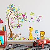 Weaeo Große Bäume Tiere 3D Diy Bunte Eule Wand Aufkleber Wand Aufkleber Klebstoff Für Kinder Kinderzimmer Wandbild Home Decor Wallpaper