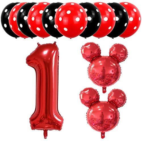 Amycute 13 pcs Decoración de Fiesta cumpleaño 1 Años, Fiesta Mickey Mouse Cumpleaños Globo de Latex Negro Rojo, Globo de Papel de Aluminio para Fiestas de Cumpleaños Niños de 1 año