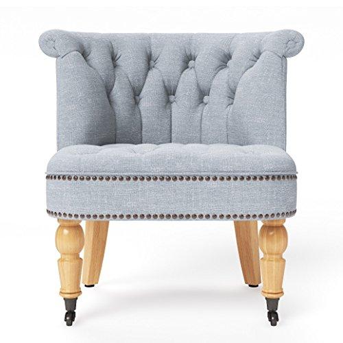 Jellywood® MCRAL Wohnzimmer Barock Polster Lounge-Stuhl Sessel mit Federung, Vorderbeine mit Rollen, Sitzhöhe 41 cm grau