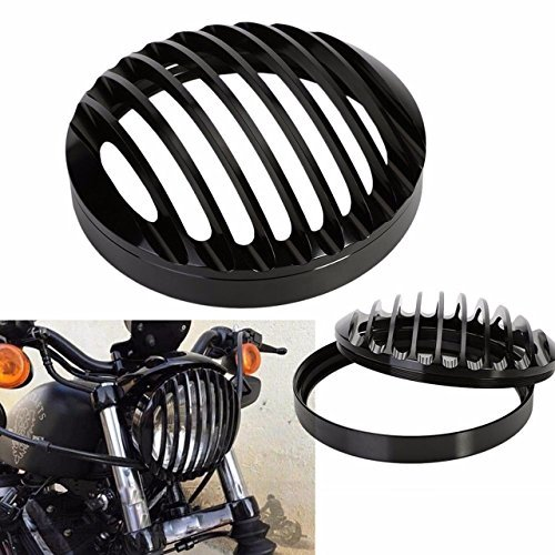KaTur 5 3/4 Negro Aluminio Faro Parrilla Cubierta para 2004 - 2014 Harley Sportster XL 883 1200