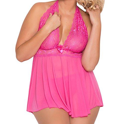 Pingtr - Damen Dessous Nachthemd,Frauen-Wäsche-Babydoll-Bowknot-Nachtwäsche-Unterwäsche-Spitze-Kleid + G-Schnur