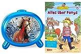 Atlanta Kinderwecker Jungen Pferde mit Lernbuch Conni Buch Alles über Ponys - 1183-P BU