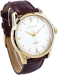 Dictac Reloj Hombre de Cuarzo Impermeable de Estilo Breve (dorado)