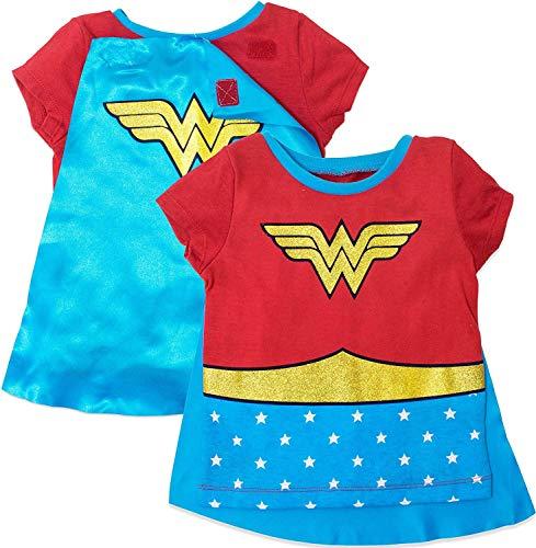 Woman Wonder T Kostüm Shirt Mädchen - Warner Bros. Wonder Woman Mädchen Kostüm T-Shirt mit Umhang Rot - Rot - 6X