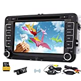 fotocamera Wiereless incluso canbus libero 8GB mappa schede GPS offerti auto navigatore cd lettore dvd supporto video MP3 BT audio stereo dell'automobile 7inch Headunit Per VW Autoradio FM AM USB SD controllo del volante Automotive
