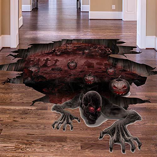 Yiwa Halloween Dekon,Grusel zur Dekoration von Haus, Tisch & Garten,3D Scary Pumpkin Skull Boden Aufkleber Wandaufkleber für Halloween Wohnzimmer Bar Pub Decor