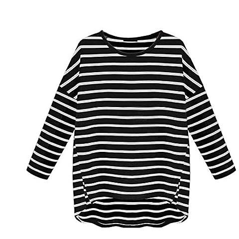 LMMVP, Femmes Été Rayures Casual Col Rond à Manches Longues T-shirt Chemise (Noir, xl)