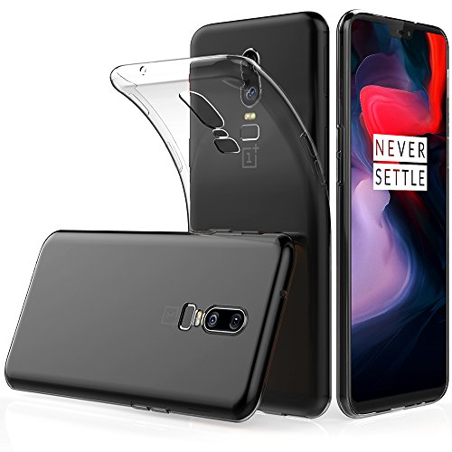 Peakally Cover para OnePlus 6, Transparent Soft TPU Funda de silicona ultrafina para OnePlus 6-Transparent