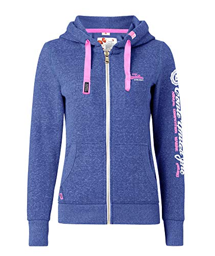 M.Conte Damen Sweatshirt Kapuzenjacke Hooded Sweater Sweat-Shirt-Jacke S M L XL Weiss Marine Blau Grau Melange Schwarz Pink Kapuze Rachel (M, Blau Heather) -