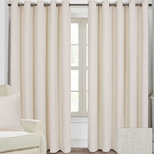 Homescapes Natural Cream Luxury Linen Curtains Pair 167cm (66″) Wide x 137cm (54″) Drop. Modern Ring Top Eyelet Fully Lined Curtains. FREE SWATCHES