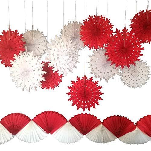 Mandia Papierfächer Schneeflocke mit roter und weißer Girlande, 13 Stück Partydekoration für Weihnachten, Party, Winterhochzeit, Geburtstag, Silvester Party