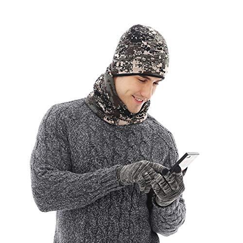 Inverno cappello e sciarpa e guanti touch screen set per uomo/donna, unisex warmer beanie cappelli scaldacollo e guanti, 3 pezzi fodera di lana caldo set per lo sci sportivo correre ecc