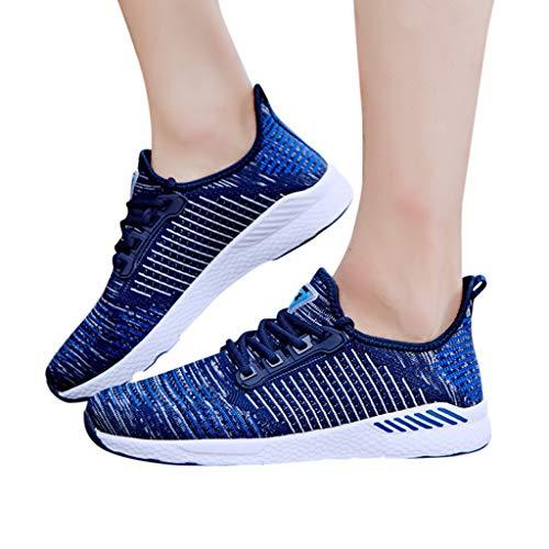 KItipeng Basket Basses Mixte Adulte-pour Femme Homme,Air Mesh Chaussures De Sport-De Course,Chaussures De Outdoor Sneakers,Walking Shoes Running CompéTition EntraîNement Lacet Chaussure,Noir, Bleu