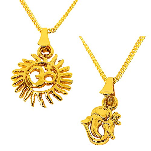 Surat Diamonds Set of 2 Sunfilled OM and Ganesha Gold Plated Religious Pendant for All with 22 IN Chain (H1861)