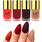 Mi Fashion Velvet Dull Matte Nail Polish, Orange, Red, Wine, Nude, 39.6ml (4 Pieces)